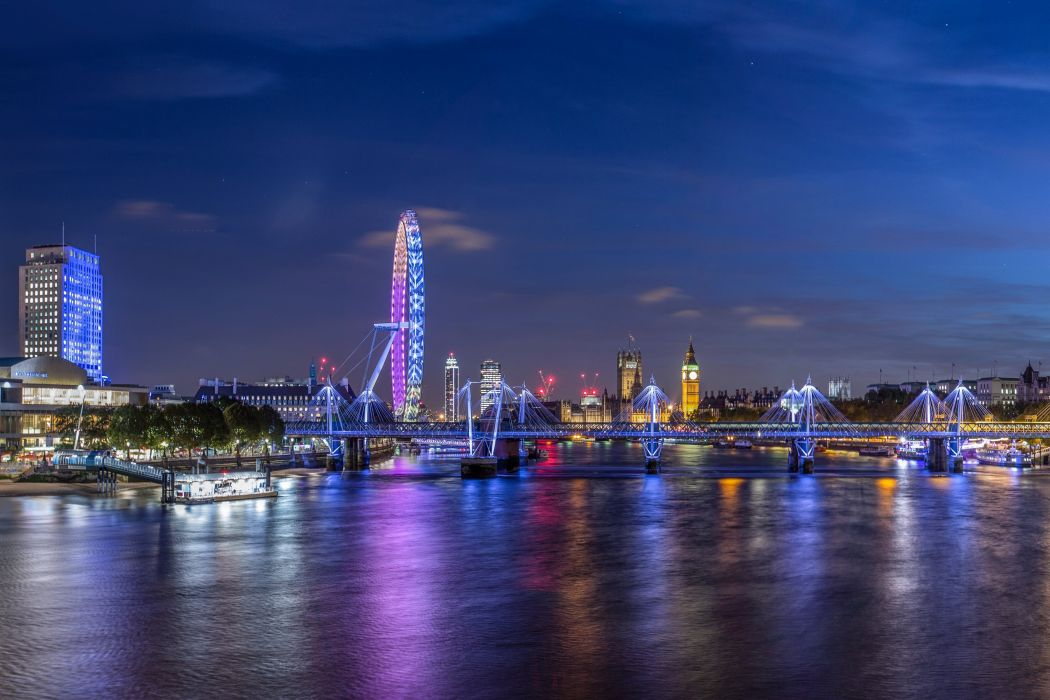 United Kingdom Houses Rivers Bridges London Ferris wheel Night Cities wallpaper