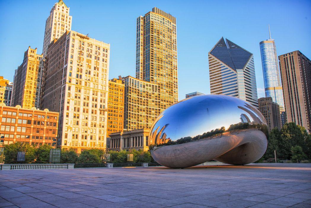 USA Chicago city millennium park Spaceship Earth Cities wallpaper