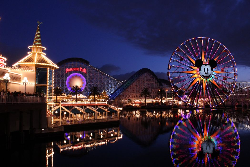 USA Disneyland Night Ferris wheel California Paradise Pier Adventure Resort Cities wallpaper