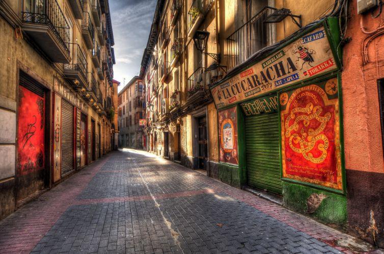 Spain Houses HDR Street Zaragoza Aragon Cities wallpaper