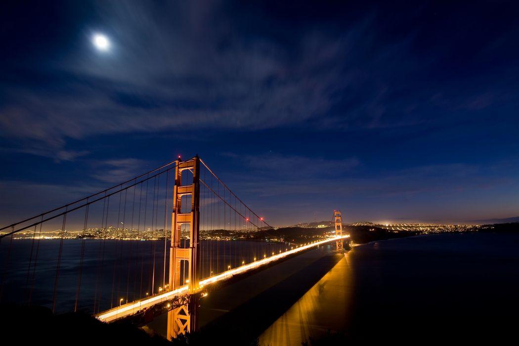 Bridges Sky USA Night San Francisco wallpaper