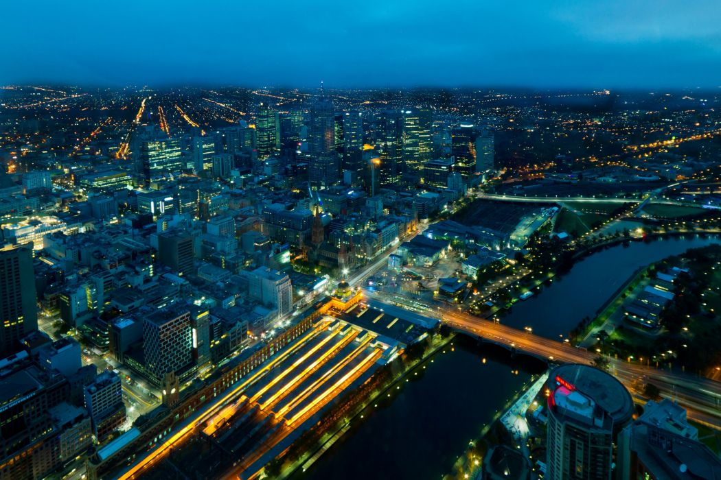 Bridges Rivers Houses Australia From above Night Melbourne Cities wallpaper