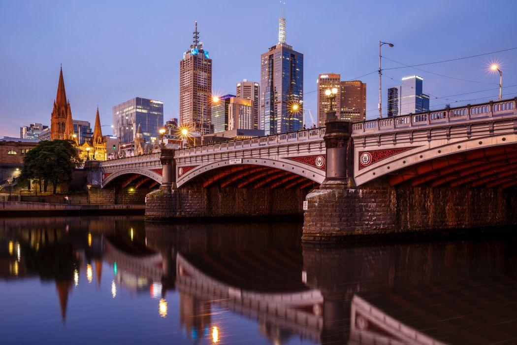 Australia Houses Rivers Bridges Street lights Princes Bridge Melbourne Cities wallpaper