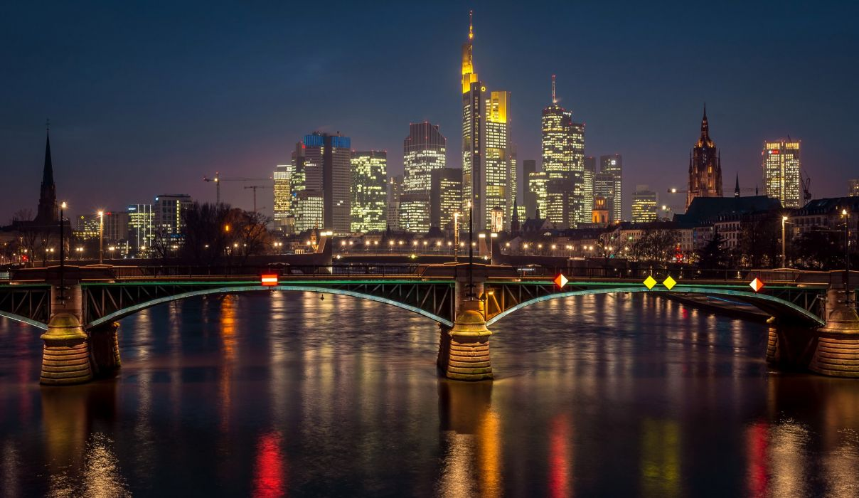 Germany Houses Rivers Bridges Night Street lights Frankfurt Cities wallpaper