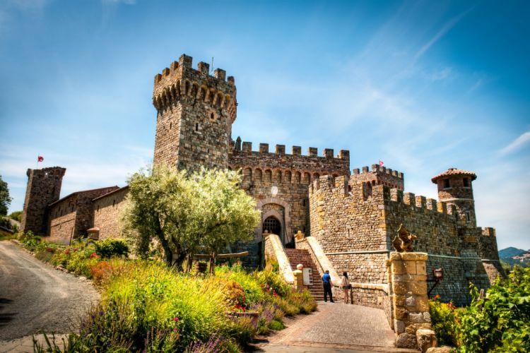 Italy Castles Sky Shrubs Stairs Castello di AmorosaTuscany Cities wallpaper