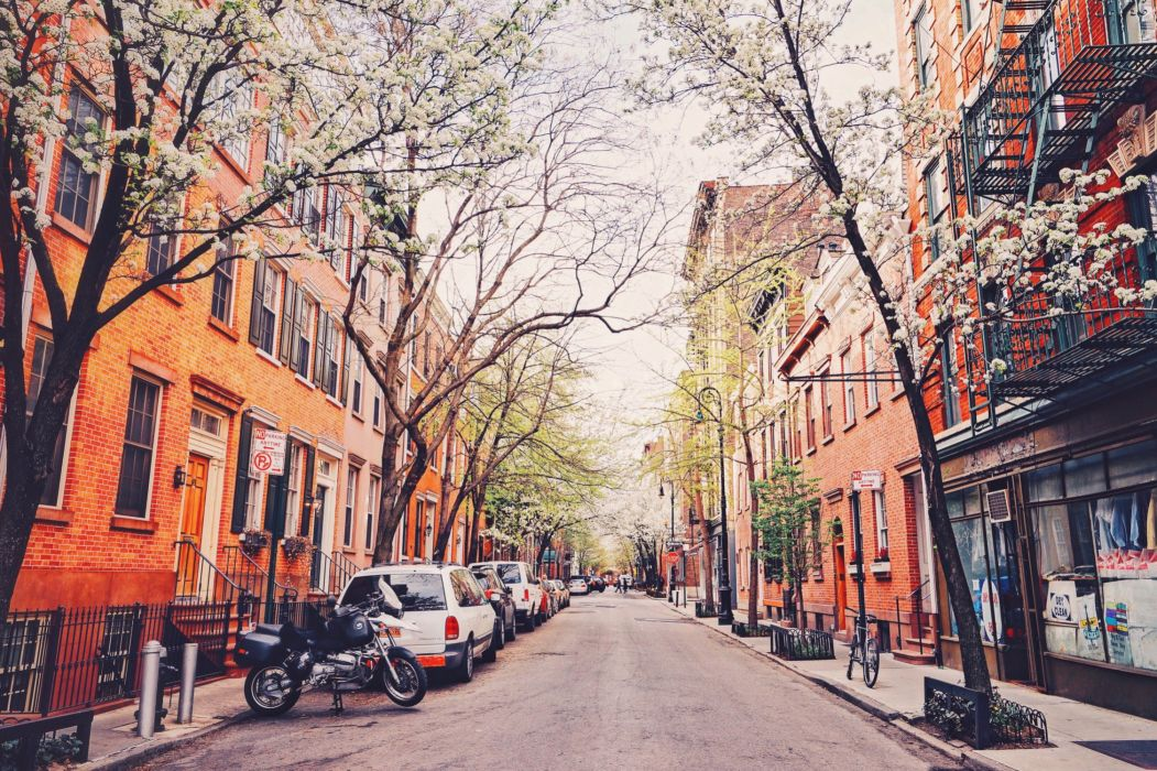 Roads USA Houses Trees Street New York City Cities wallpaper