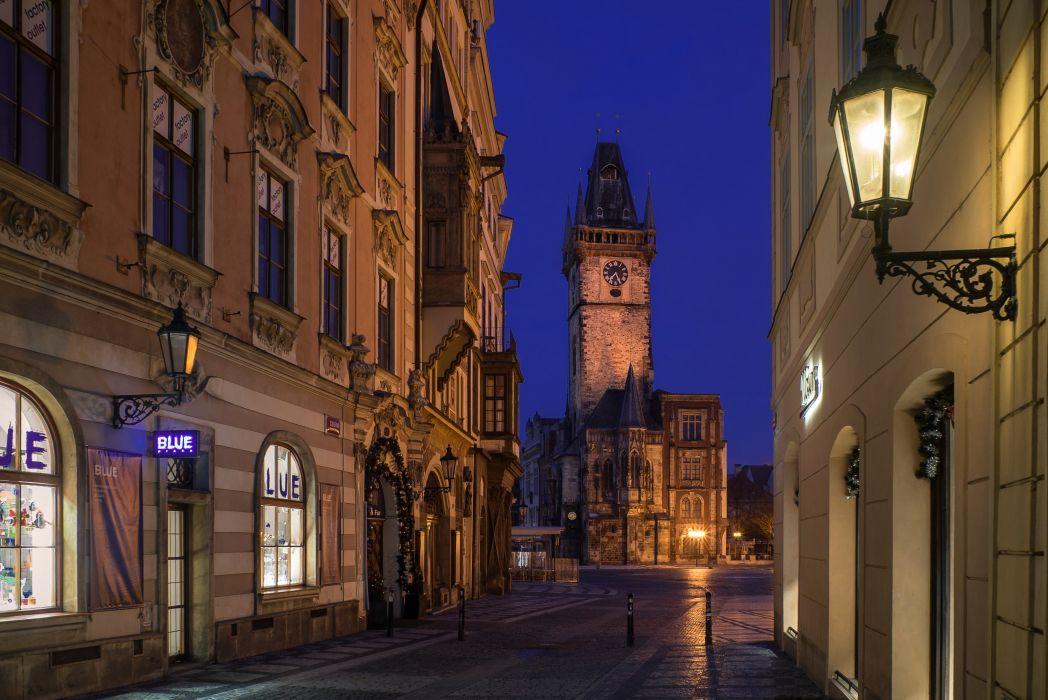 Prague Czech Republic Houses Street Night Street lights Nove Mesto Cities wallpaper