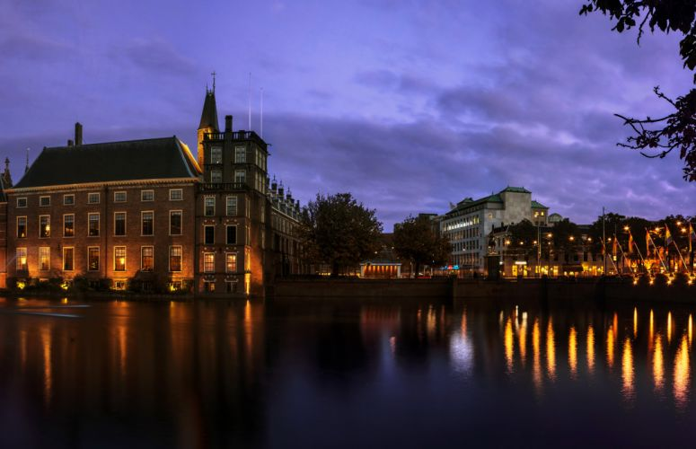 Netherlands Houses Canal Night Hague Cities wallpaper