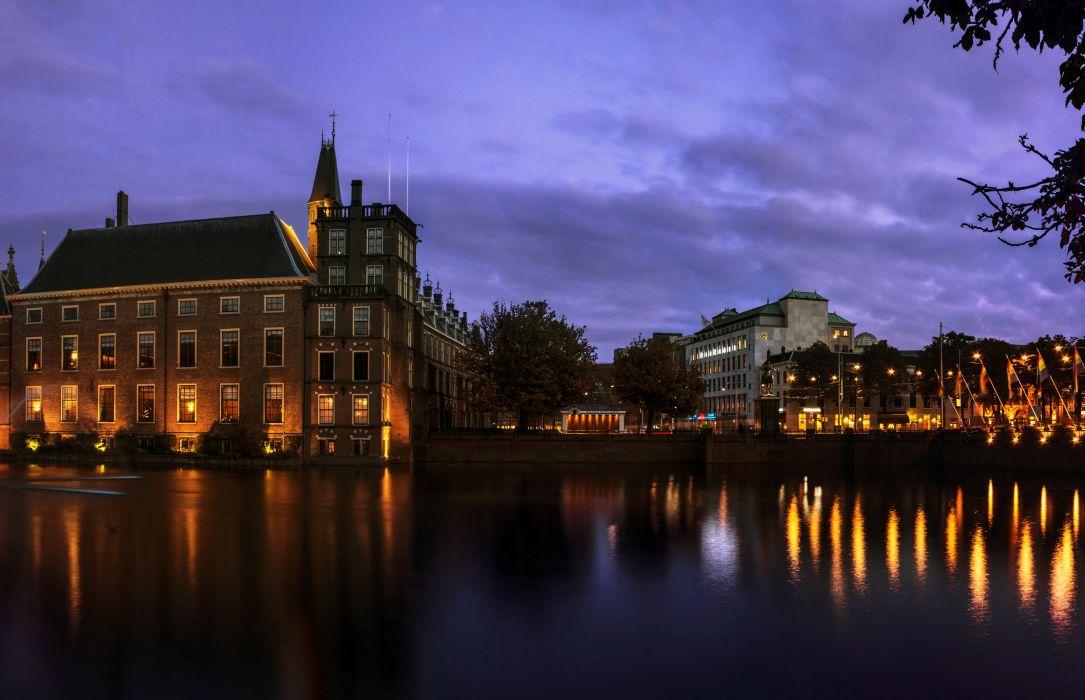 Netherlands Houses Canal Night Hague Cities wallpaper