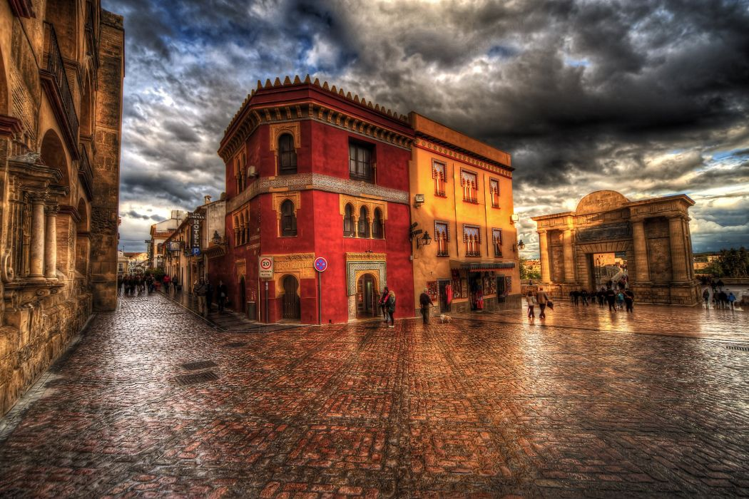 Spain Houses HDR Street Clouds Cordoba Andalusia Cities wallpaper