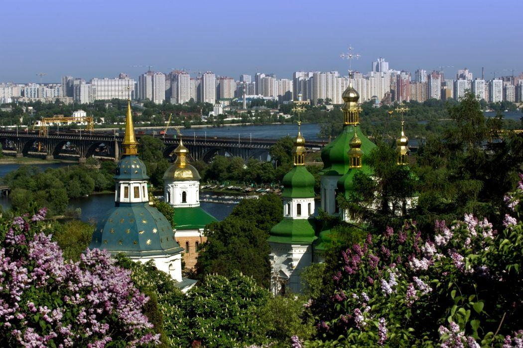 Ukraine Houses Bridges Temples Lilac Cities wallpaper