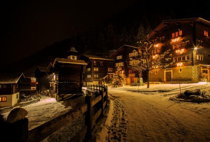 Switzerland Houses Winter Roads Night Street lights Snow Niederwald Cities wallpaper