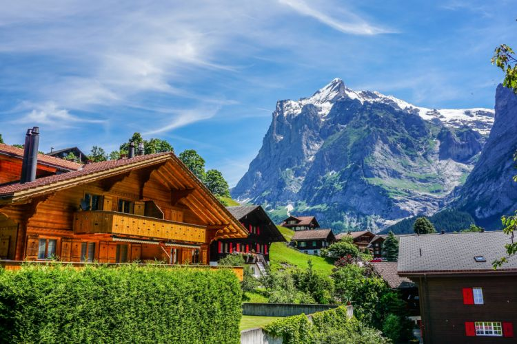 Switzerland Houses Mountains Grindelwald Cities wallpaper