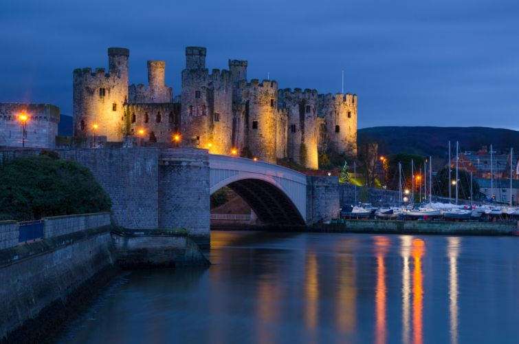 United Kingdom Castle Rivers Bridges Night Conwy castle Wales Cities wallpaper
