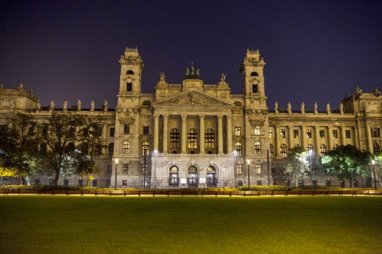 Budapest Hungary Palace Lawn Night Street lights Cities wallpaper