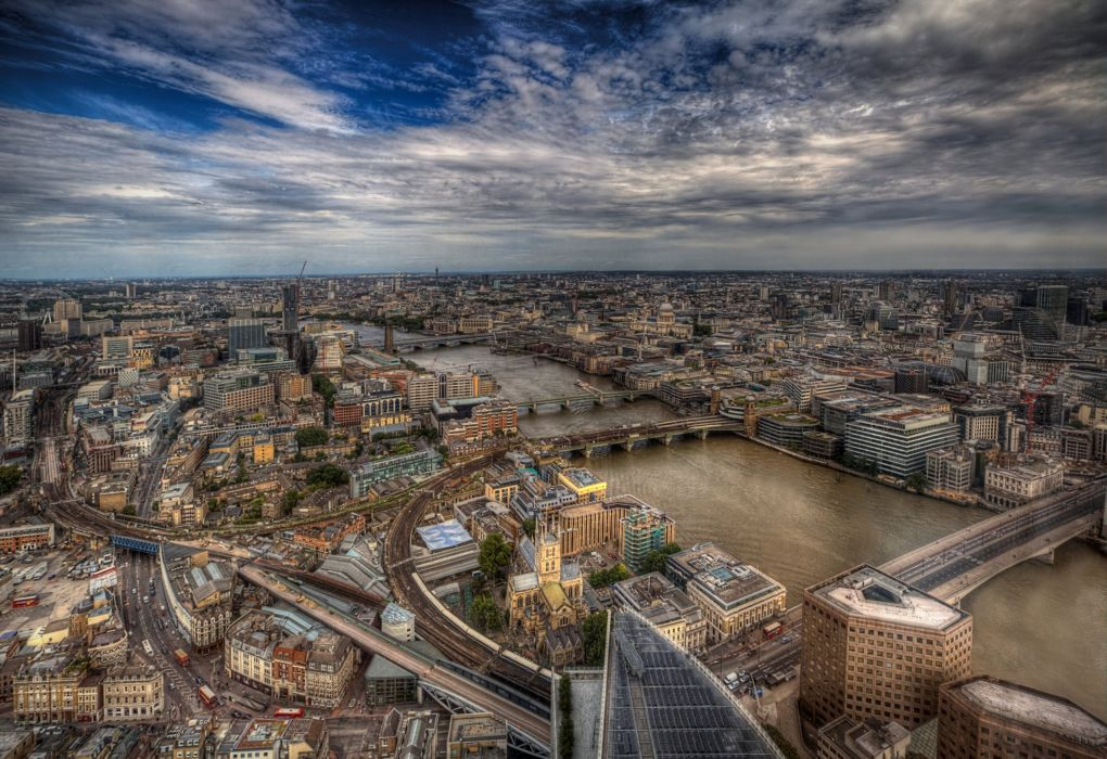 England Houses Rivers Bridges Sky London Megapolis HDR From above Cities wallpaper