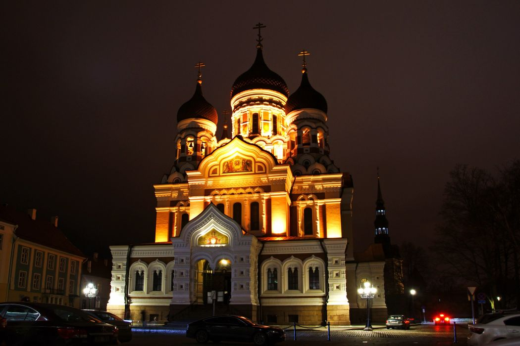 Estonia Temples Night Street lights Tallinn Alexander Nevsky Cathedral Cities wallpaper