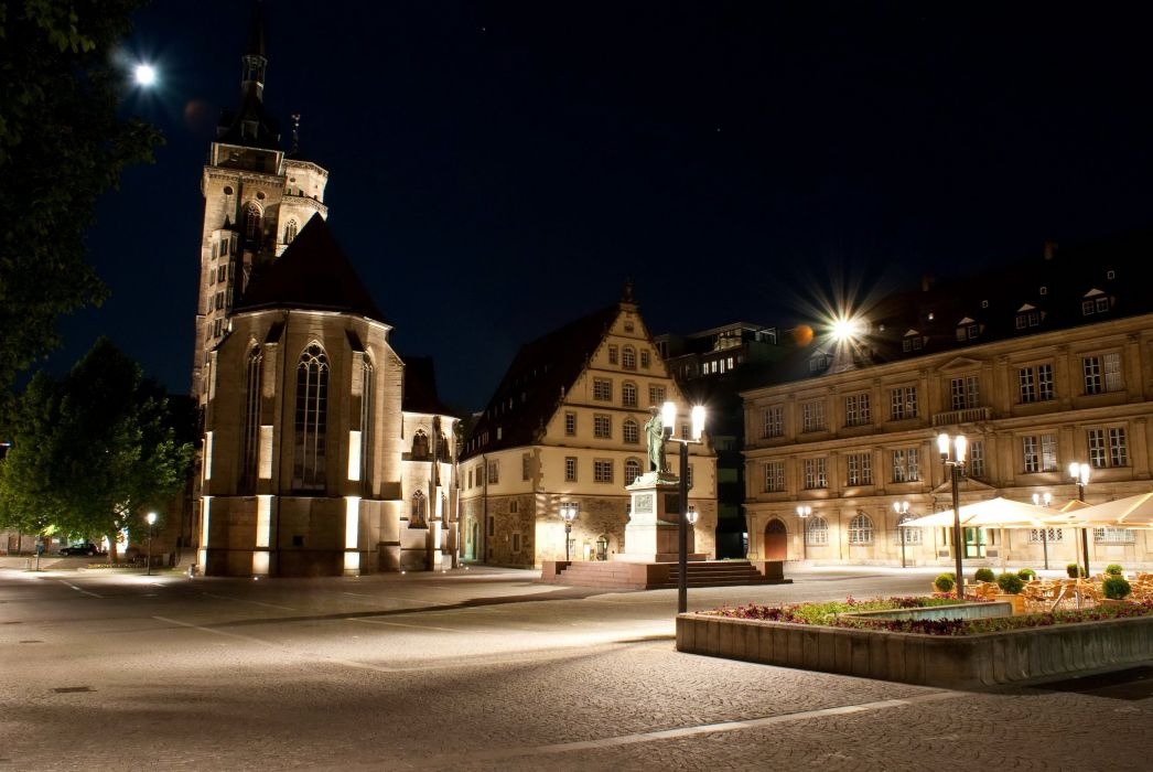 Germany Houses Monuments Night Street lights Street Stuttgart Cities wallpaper