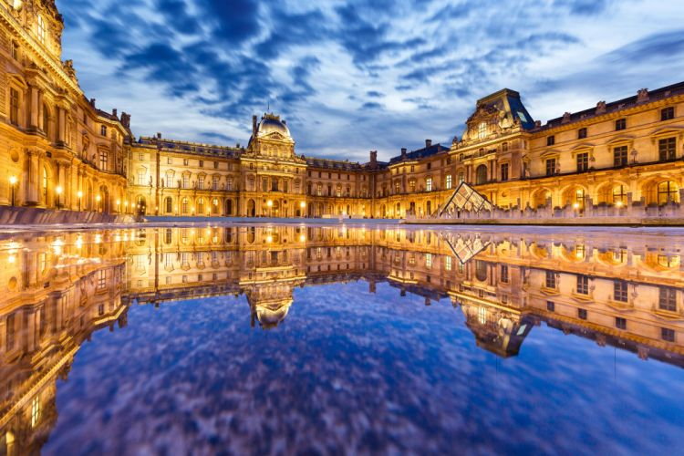 France Sky Water Paris Palace Night Street lights Le Louvre Cities wallpaper