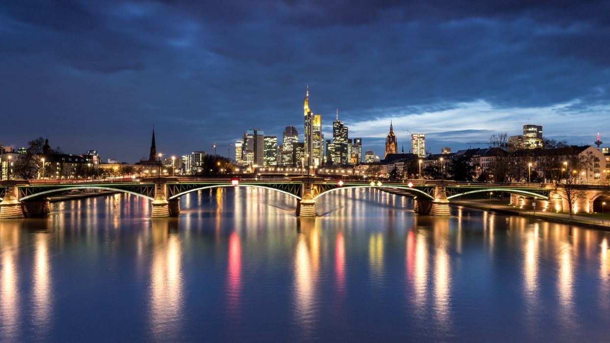 Germany Houses Rivers Bridges Night Street lights Frankfurt Cities h wallpaper