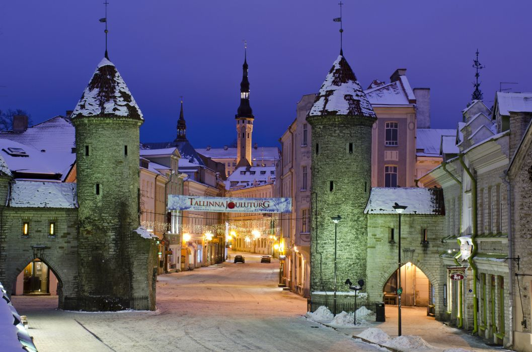 Estonia Winter Houses Street Night Street lights Tallinn Cities wallpaper