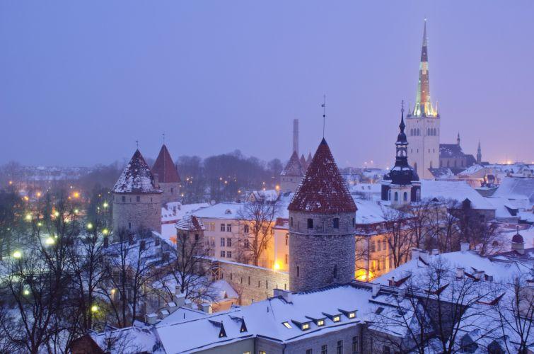 Estonia Houses Winter Night Tallinn Cities wallpaper