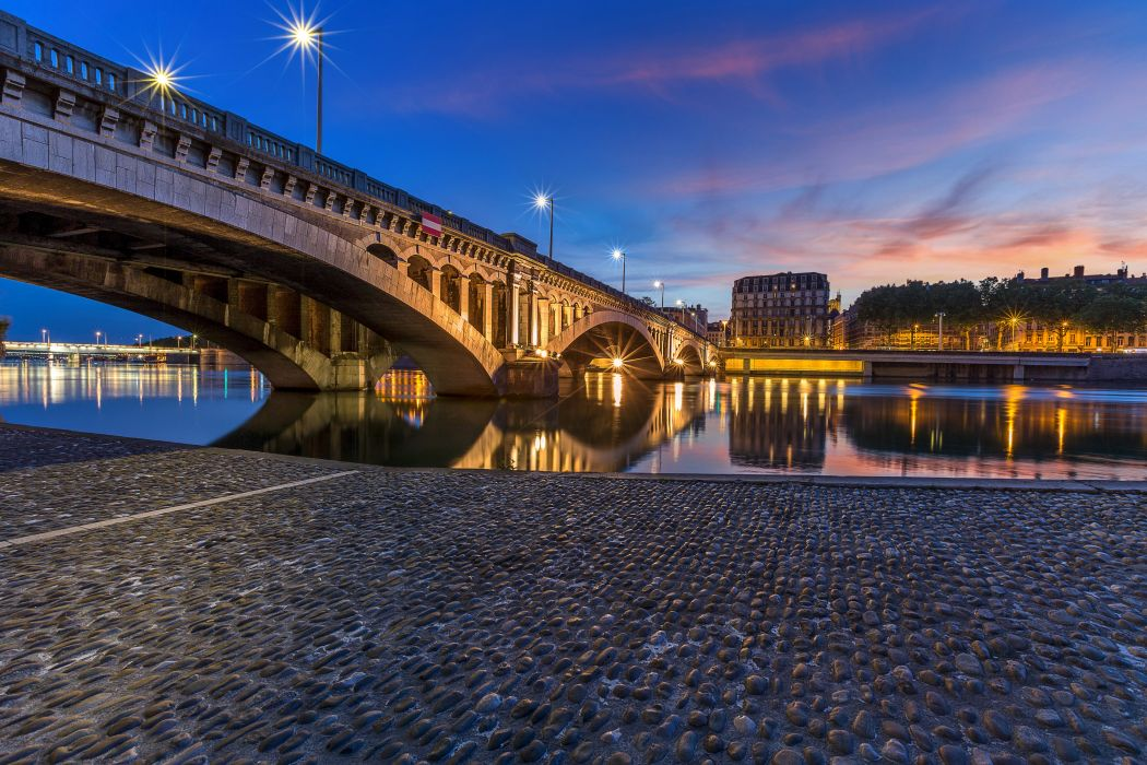 France Houses Rivers Bridges Night Street lights Lyon Cities wallpaper