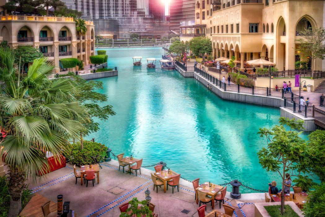 Dubai Emirates UAE Resort Houses HDR Canal Cities wallpaper