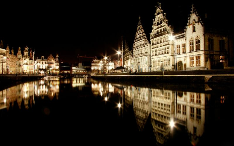 Houses Rivers Belgium Night Ghent Cities wallpaper