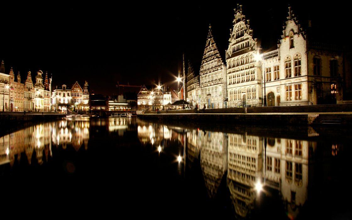 Houses Rivers Belgium Night Ghent Cities wallpaper