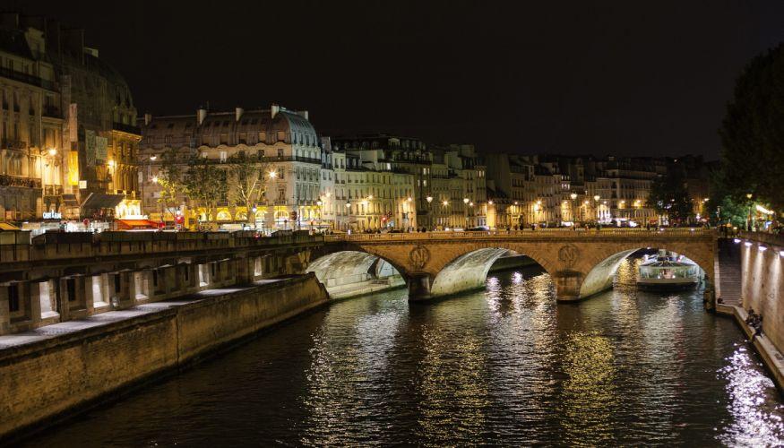 France Houses Rivers Bridges Paris Night Street lights Cities wallpaper