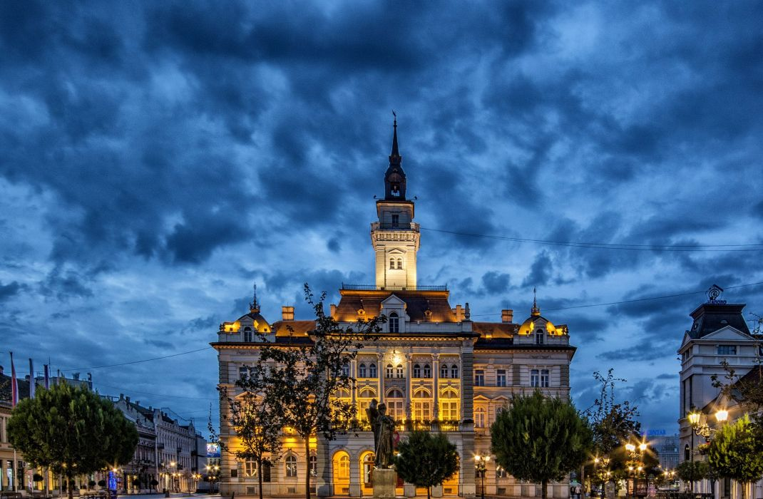 Houses Serbia Street Night Street lights Novi Sad Cities wallpaper