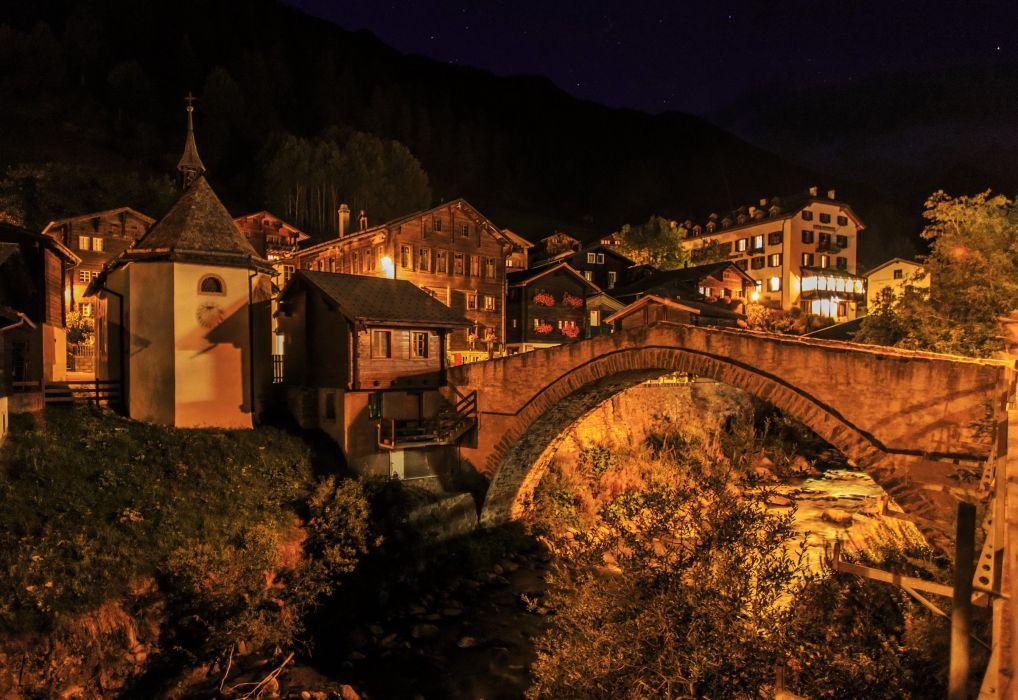 Switzerland Houses Bridges Night Binn Cities wallpaper