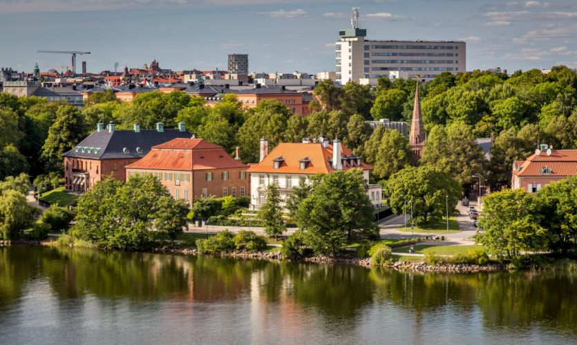 Stockholm Sweden Houses Rivers Trees Cities wallpaper