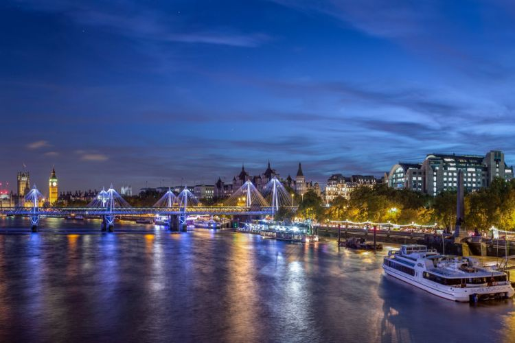 United Kingdom Houses Rivers Bridges Marinas Sky London Night Westminster Cities wallpaper