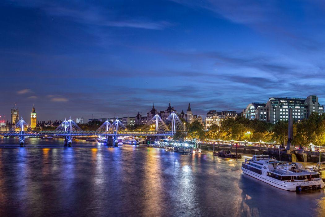 United Kingdom Houses Rivers Bridges Marinas Sky London Night Westminster Cities wallpaper