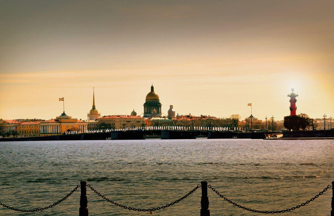 St Petersburg Russia Coast Bridges Rivers neva Cities wallpaper