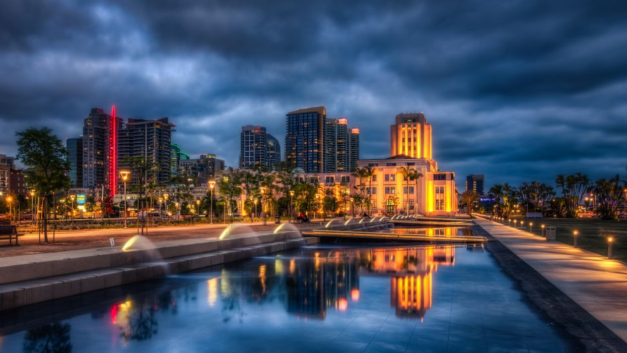 USA Houses Fountains San Diego Night Street lights HDR Cities wallpaper