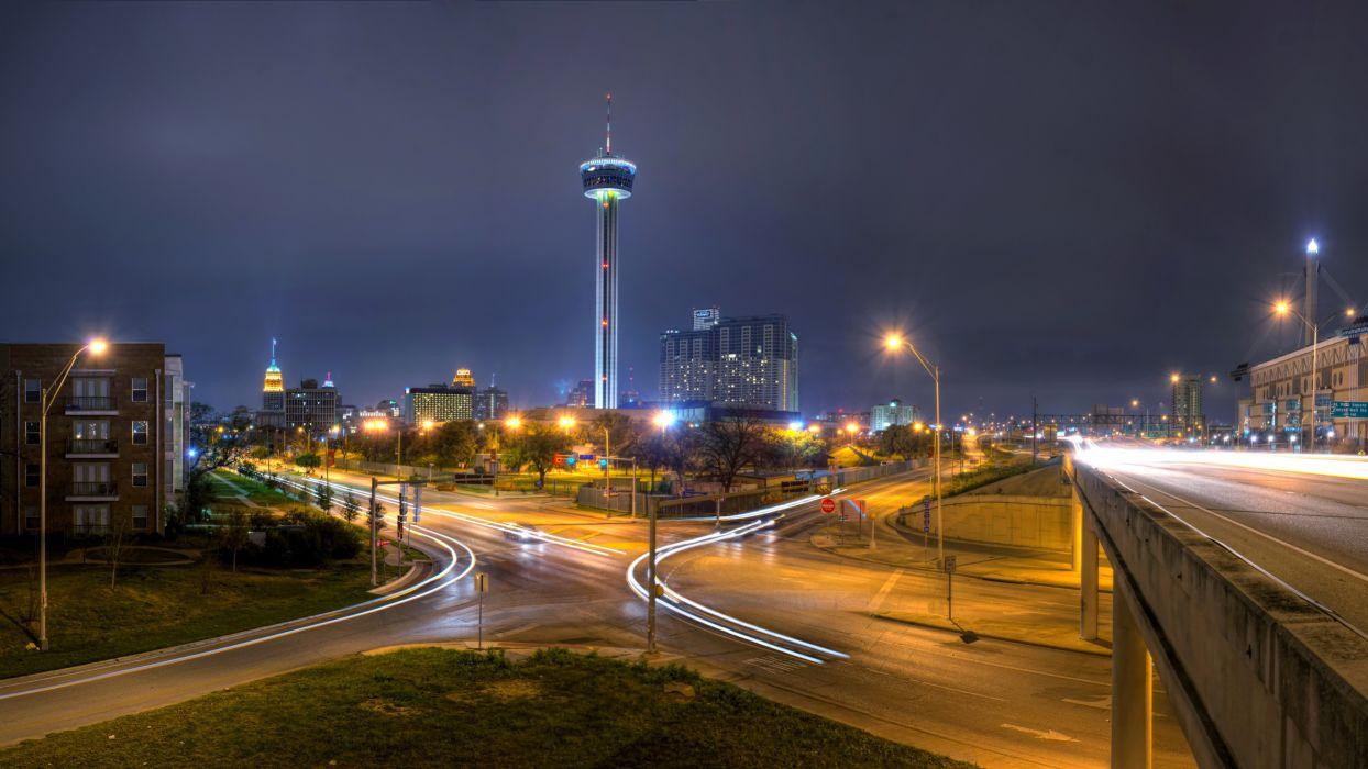 USA Houses Roads Texas Street Night Street lights San Antonio Cities wallpaper