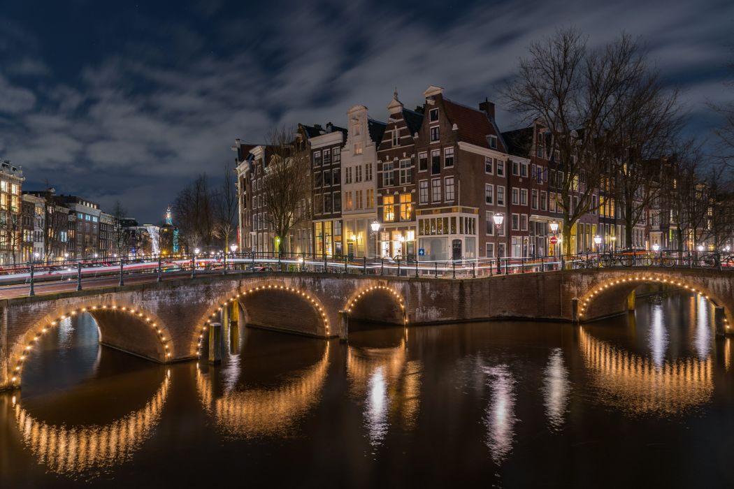 Amsterdam Netherlands Houses Bridges Canal Night Street lights Cities wallpaper
