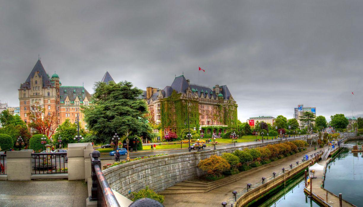 Canada Houses Marinas Street HDR Victoria British Columbia Cities wallpaper