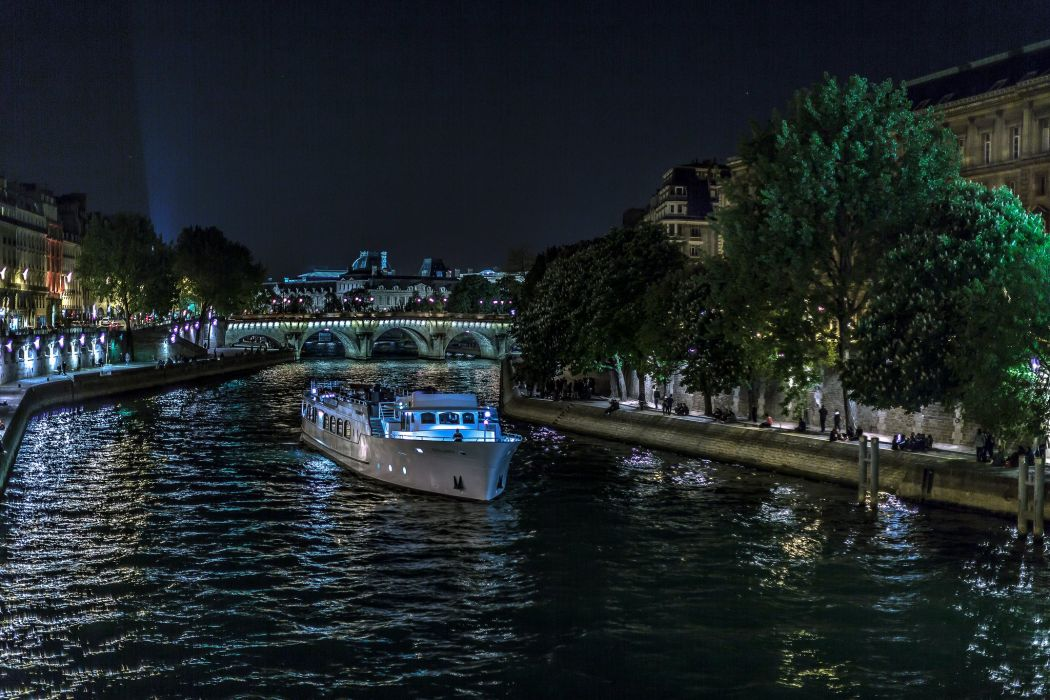 Motorboat Rivers France Night Canal Paris Seine Cities wallpaper