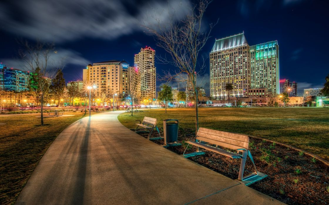 Parks Houses USA HDR Night Bench Pavement California San Diego Marina Ruocco Cities wallpaper