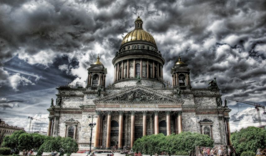 St Petersburg Russia Clouds HDR Saint Isaac's Cathedral Cities wallpaper