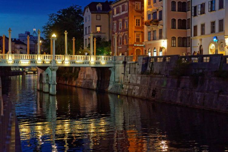 Slovenia Houses Rivers Bridges Night Ljubljana Cities wallpaper