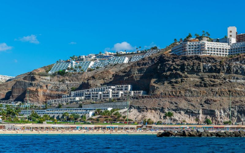 Spain Houses Canary Islands Crag Puerto Rico Gran Canaria Cities wallpaper