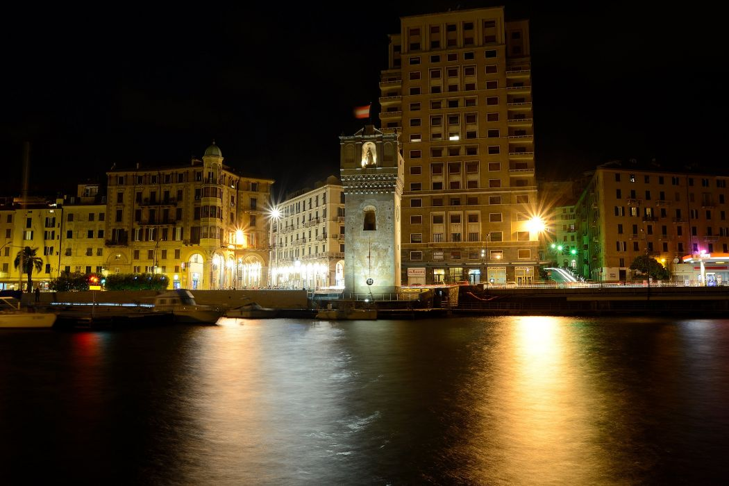 Italy Houses Rivers Marinas Night Street lights Savona Cities wallpaper