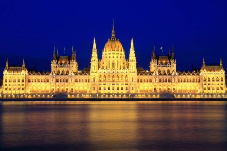 Budapest Hungary Rivers Palace Night Street lights Cities wallpaper