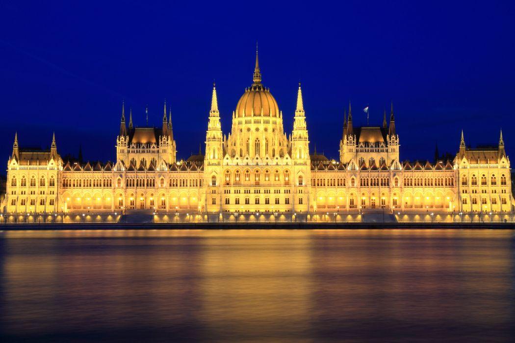 Budapest Hungary Rivers Palace Night Street lights Cities wallpaper