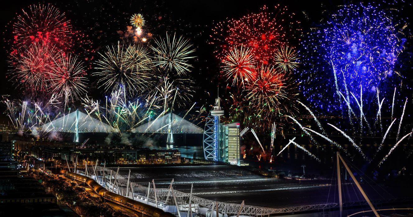 Fireworks Bridges Portugal Night Lisbon Vasco da Gama Cities wallpaper
